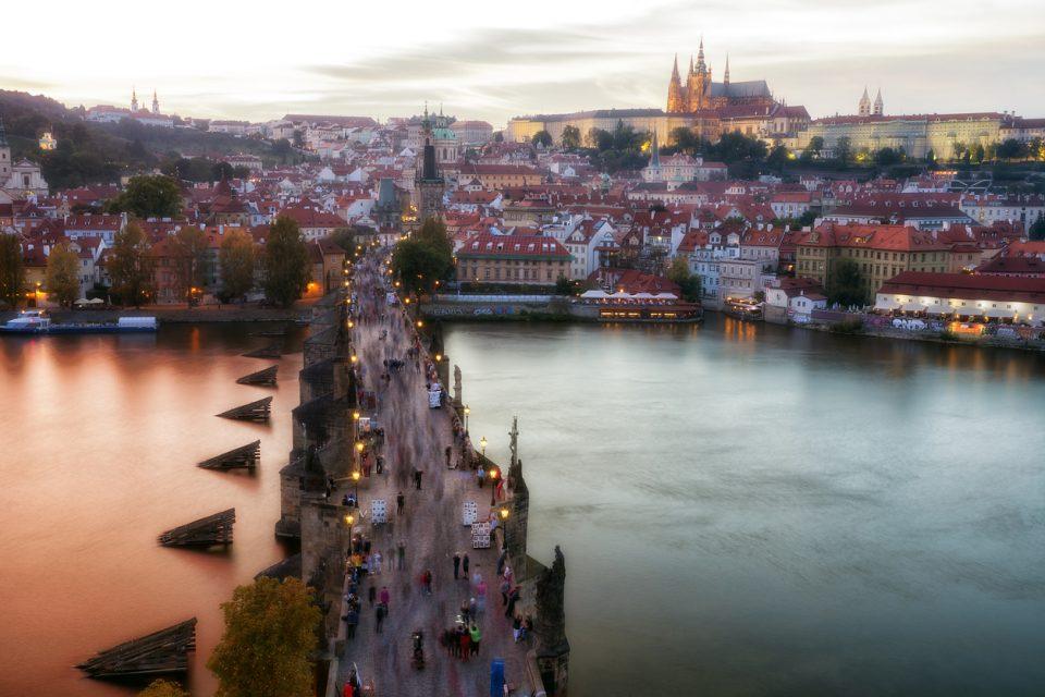 Charles Bridge, Prague Castle and Cityscape at Sunset, Prague