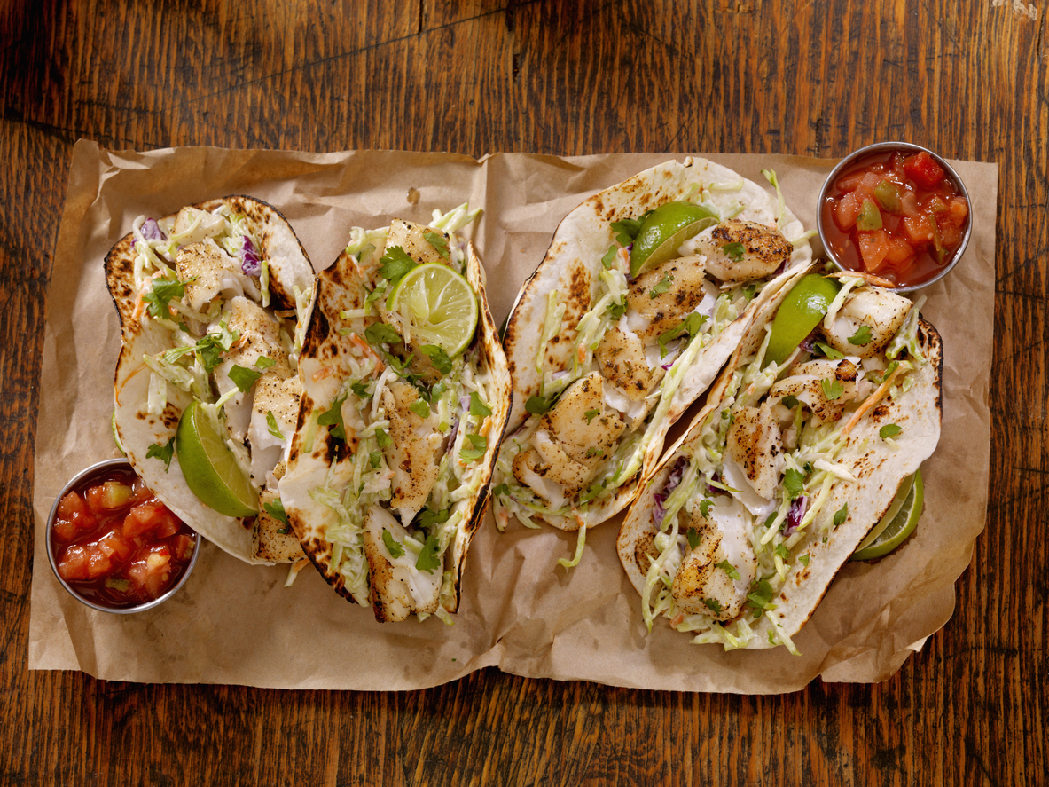 Grilled Fish Tacos with Creamy coleslaw, Lime and Fresh Cilantro - Photographed on Hasselblad H3D2-39mb Camera