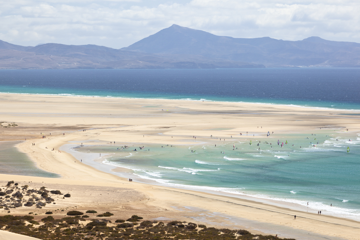 Beach and and the famous lagoon at low tide at Playas De Sotavento near Risco El Paso.