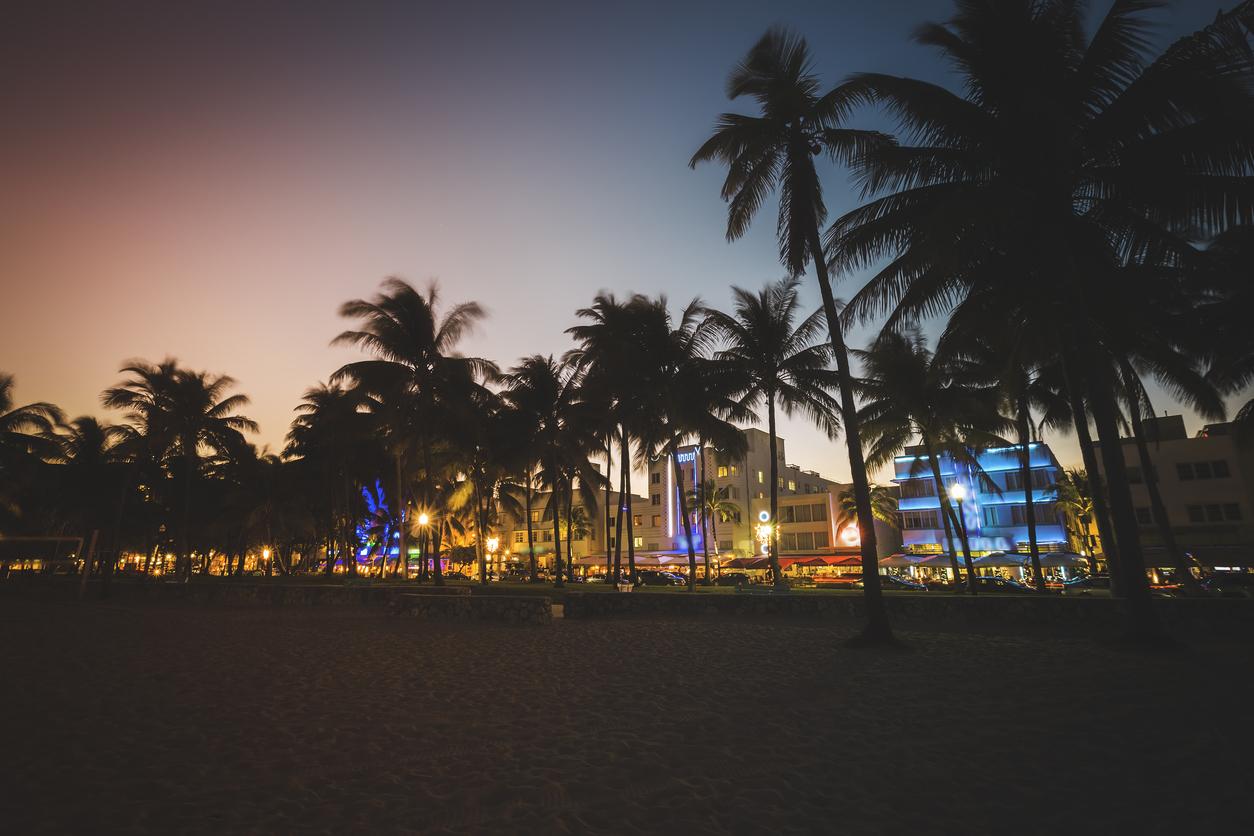 Ocean Drive street with illuminated buildings, South Beach , Florida