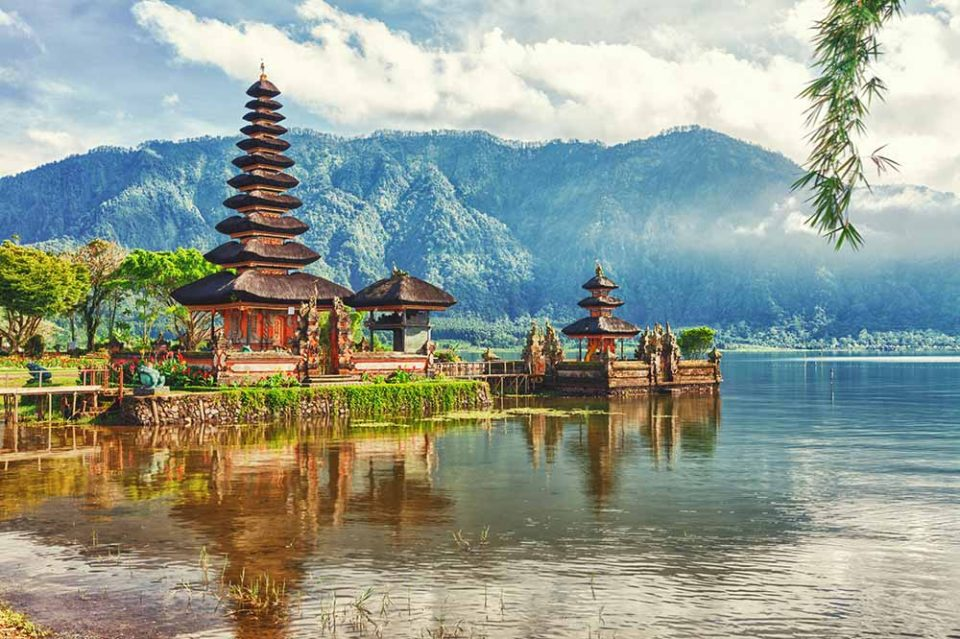 A Balinese temple set on the water