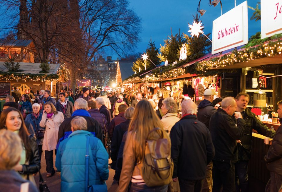 Busy Christmas Markets in Edinburgh during December