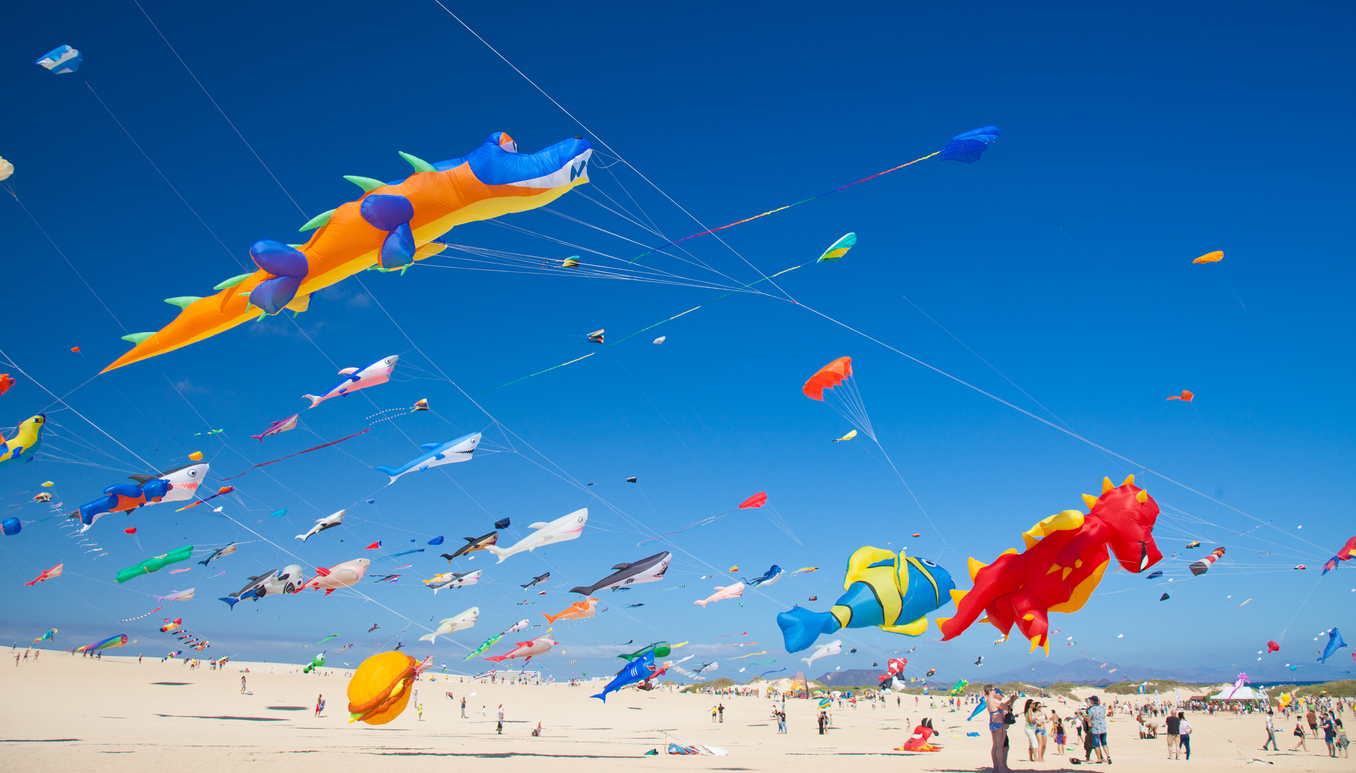 Corralejo, Spain - November 07, 2015: Viewers watch from the ground as multicolored kites lift into the the sky at 28th International Kite Festival, November 07, 2015 in Dunes of Corralejo, Fuerteventura, Spain