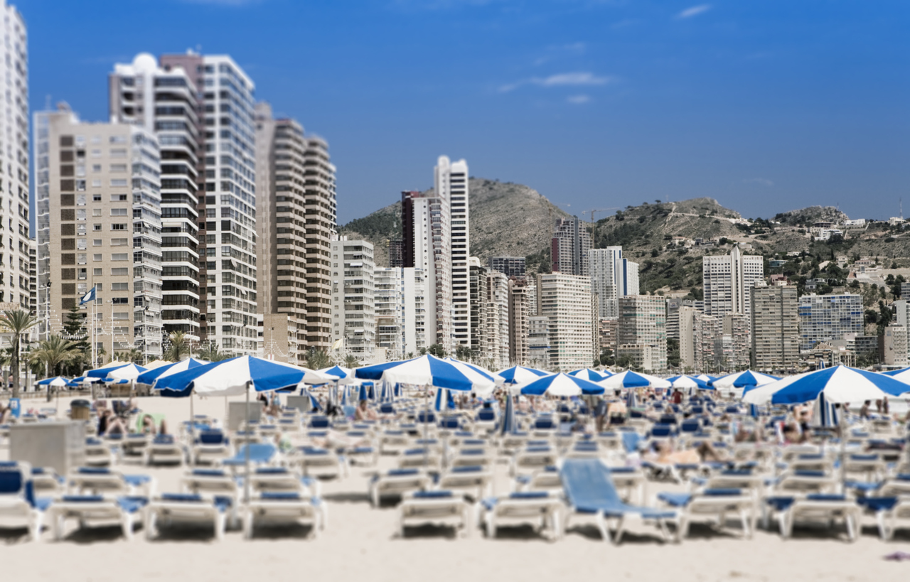 Benidorm crowded beach Valencia Spain