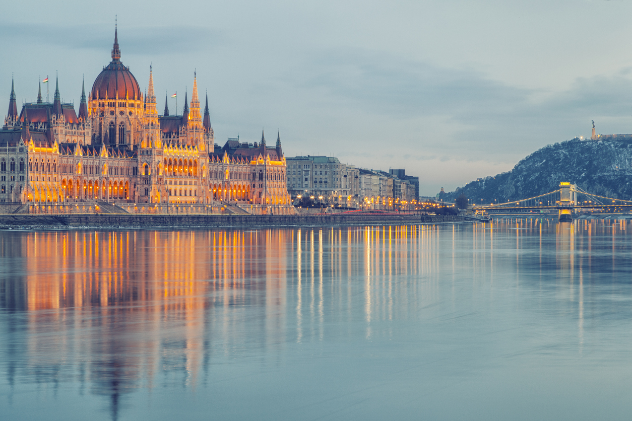 The Hungarian parliament in morning light.