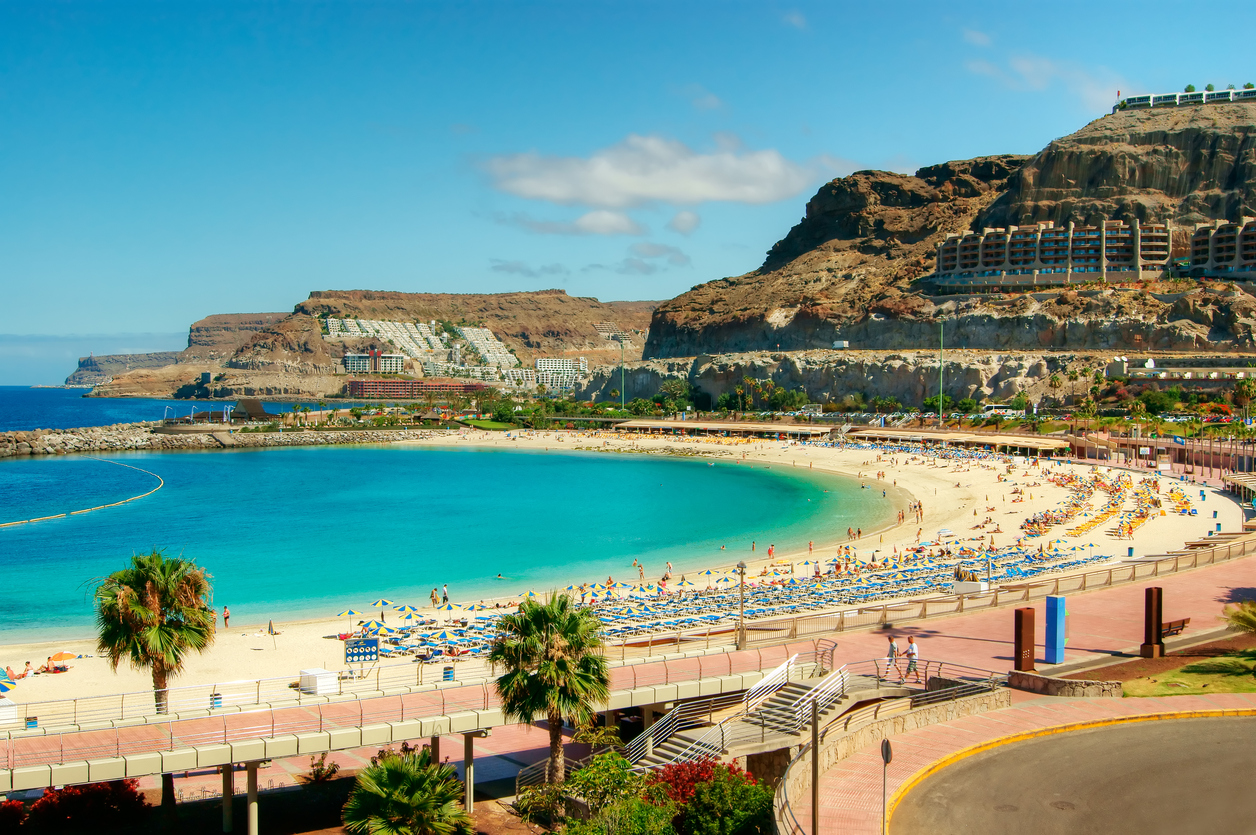 View over Amadores beach on Gran Canaria, Spain