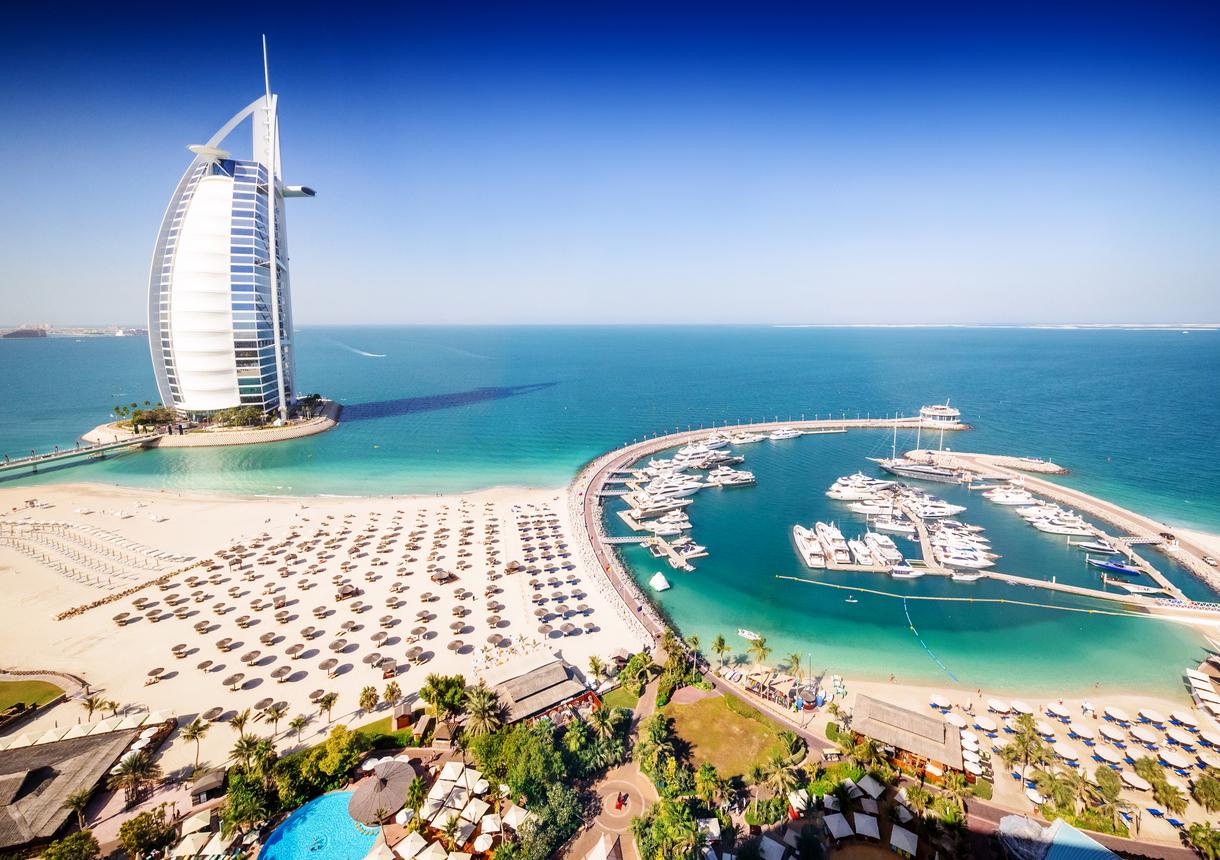 Burj Al Arab Hotel and a marina, Dubai