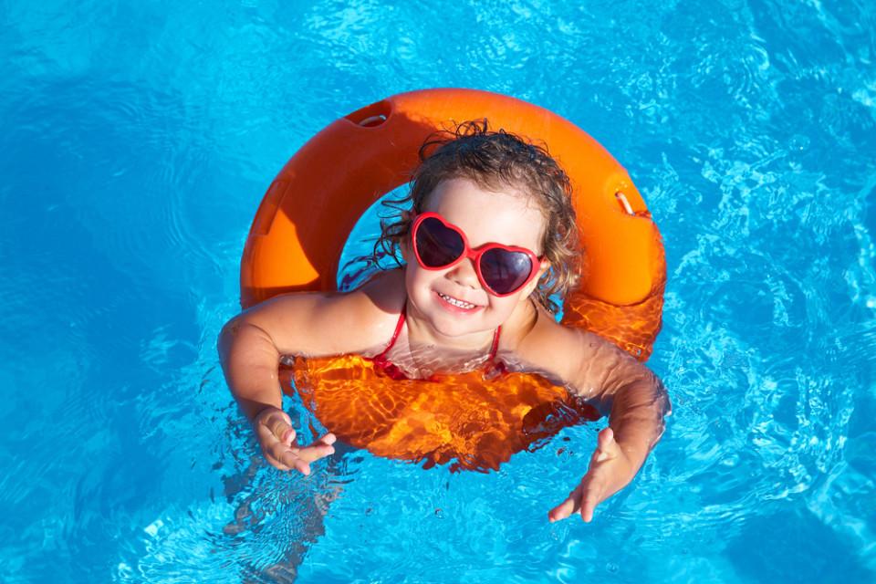 blue swimming pool