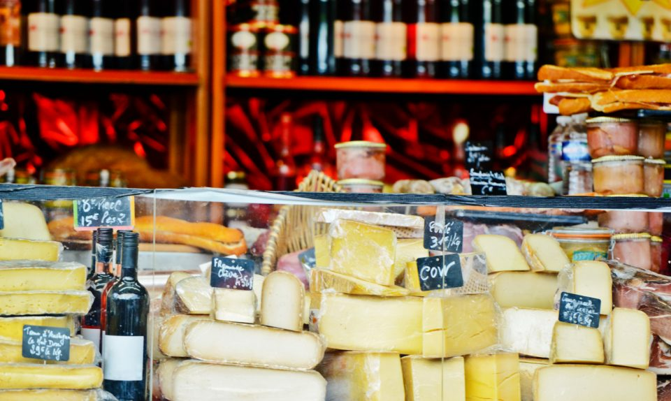 French Cheese and wine on Christmas Market
