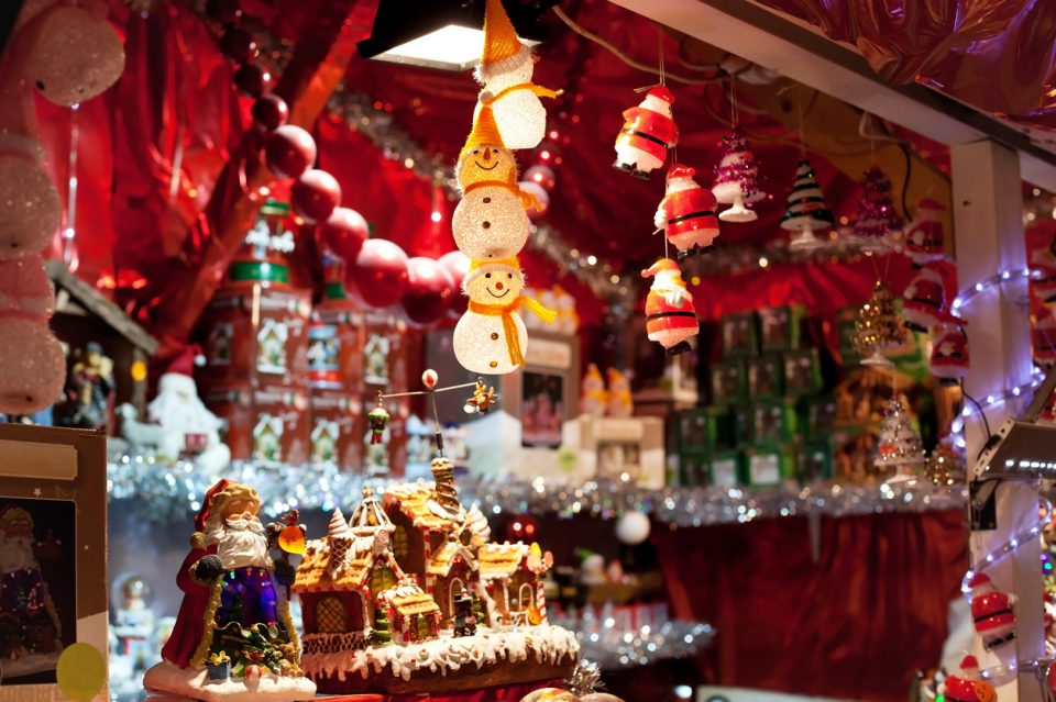 decoration for sale on christmas market