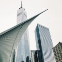 Angellike wing of the World Trade Centre Transit Hub overlookedhellip