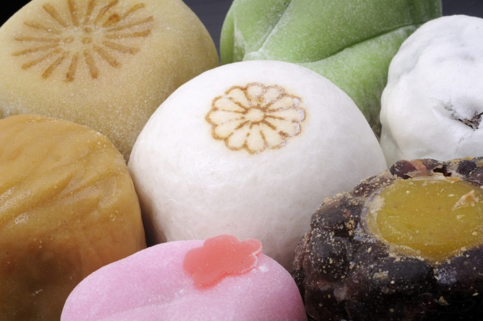 Close up of a variety of mochi asian dessert