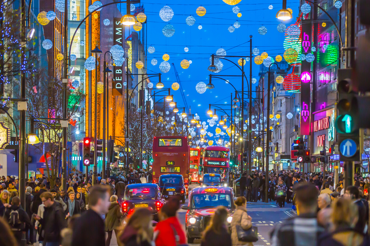 Oxford street at Christmas time, London