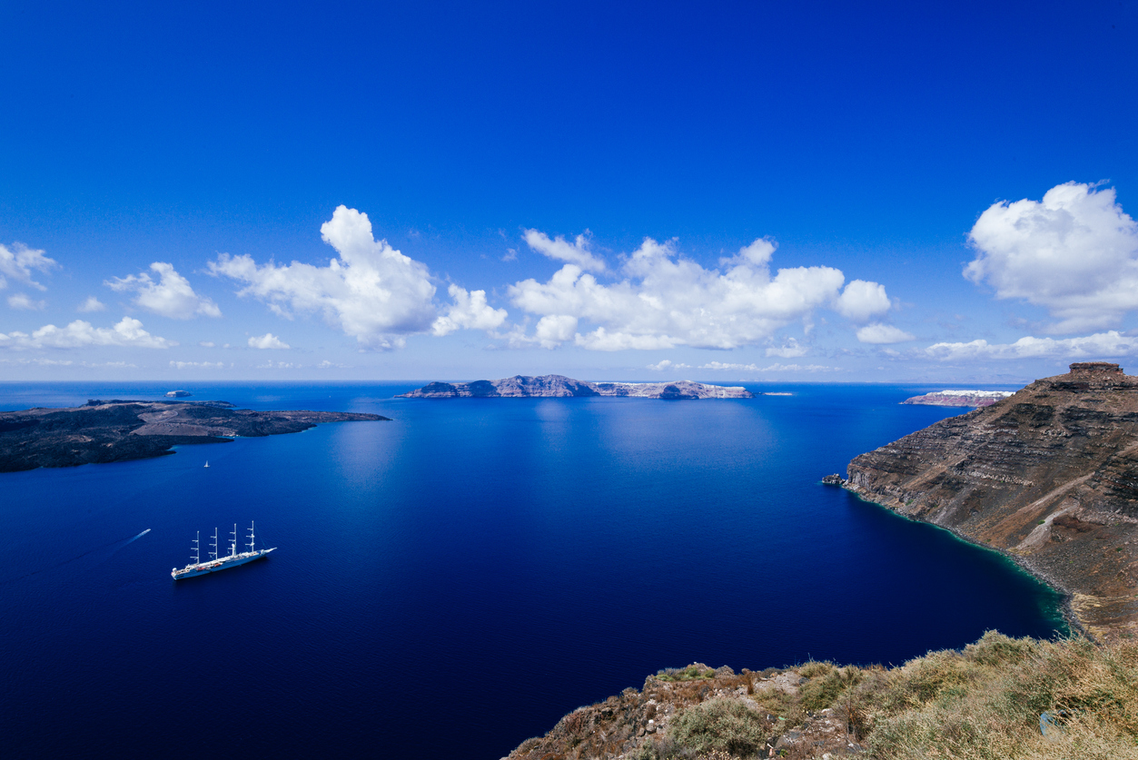 Star Clipper Sail in Caldera at Santorini