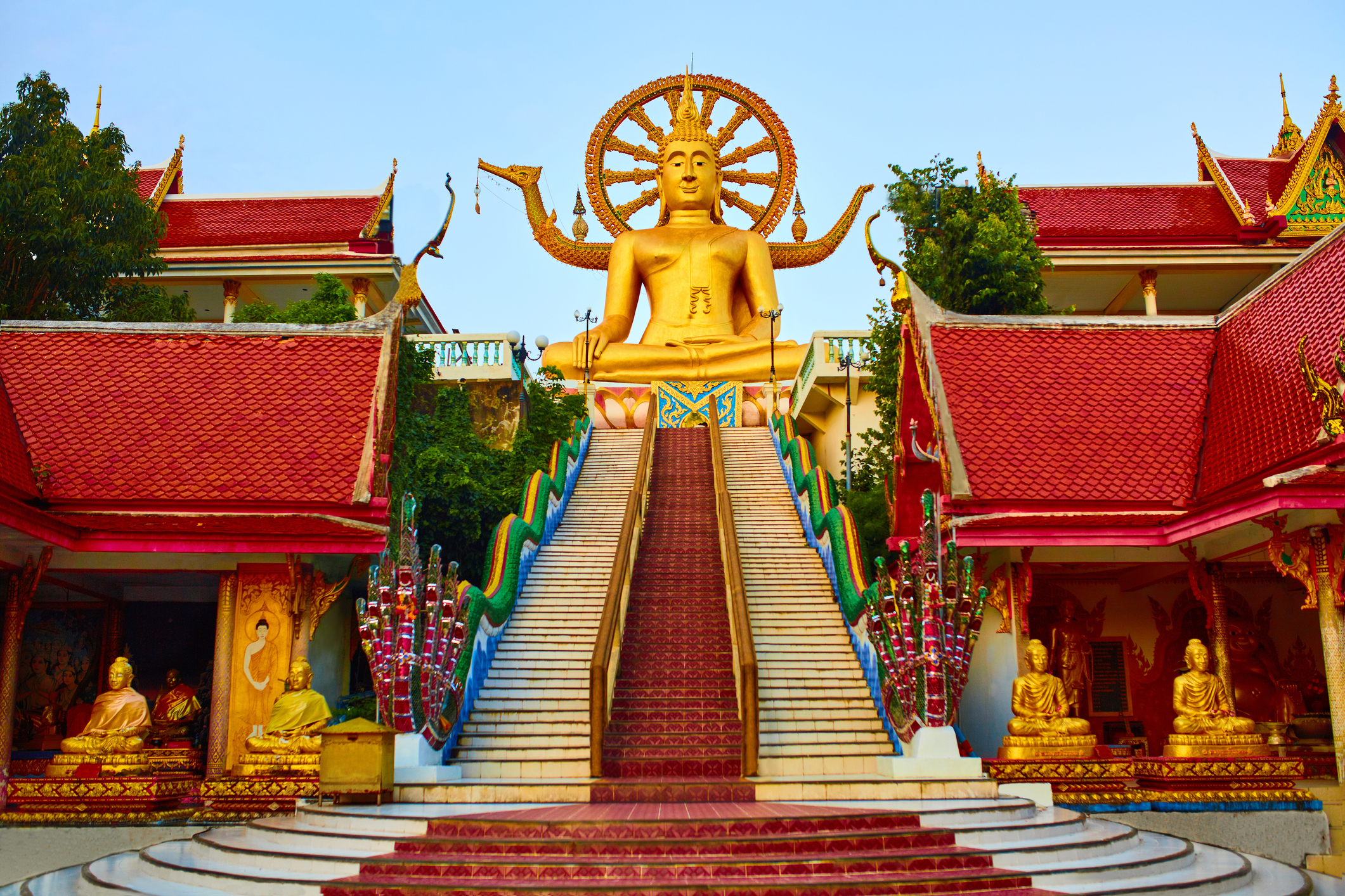 Religion In Thailand. Golden Statue Of Buddha With Dragon Staircase In Wat Phra Yai, The Big Buddha Temple At Koh Samui. Place For Praying, Meditation. Buddhism. Religious Symbol. Travel, Tourism.