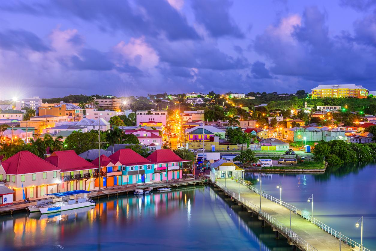 St. John's, Antigua port and skyline at twilight.