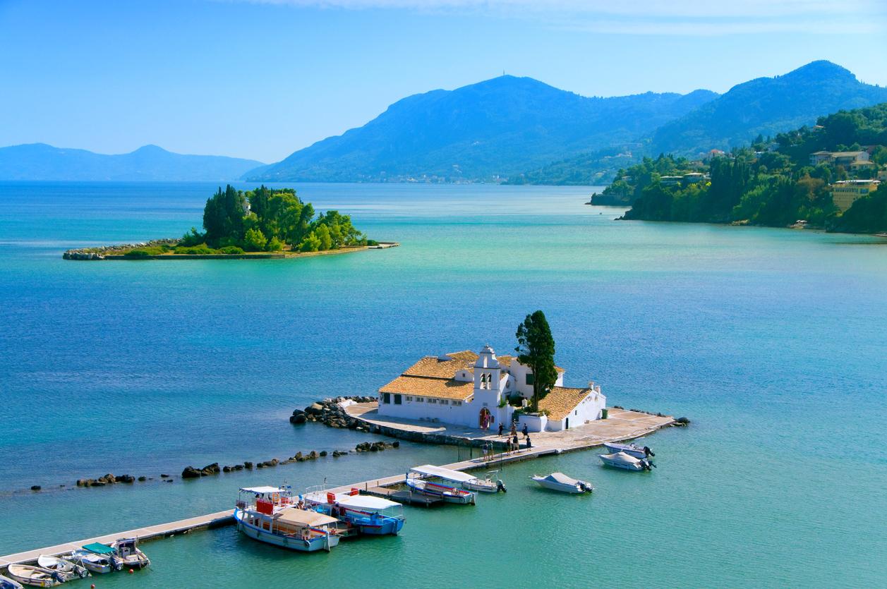 A stunning view of Pontikonisi area at Corfu island, Greece