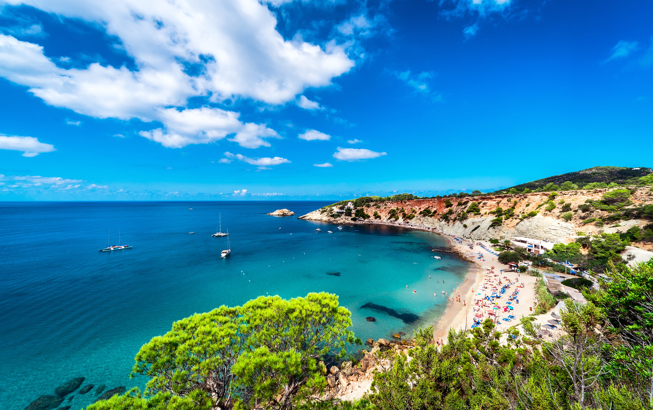 Picturesque Cala d'Hort beach. Ibiza, Balearic Islands. Spain