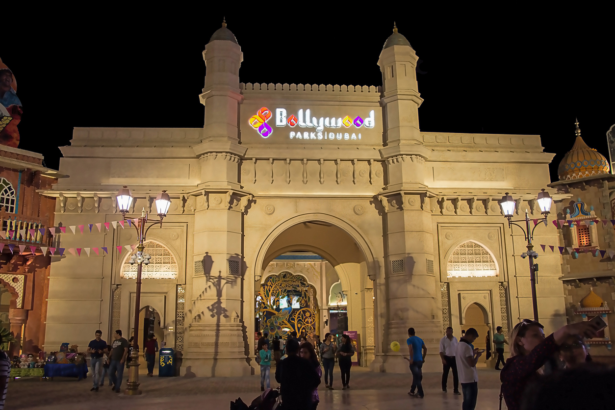 Entrance Bollywood Park at Dubai Parks and Resorts, Dubai