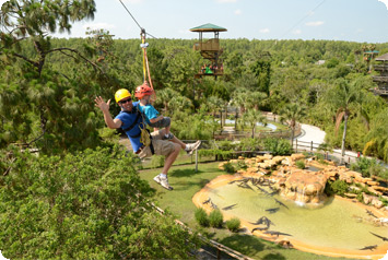 Hileman family on the Screamin Gator Zip Line
